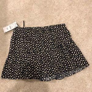 Zara Black Floral Skirt/Short